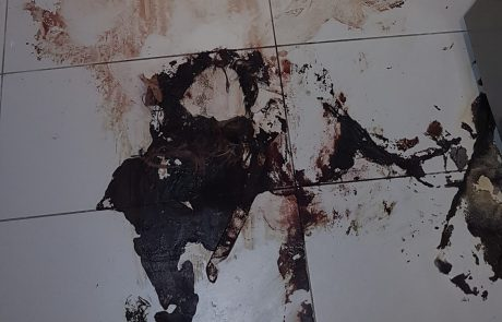 Crime Scene with Blood on the Floor in a kitchen