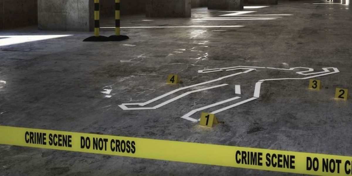 Crime and Suicide Cleaning Scene in a Parking